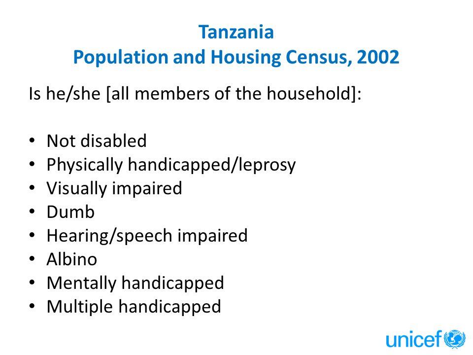 Tanzania Population and Housing Census, 2002