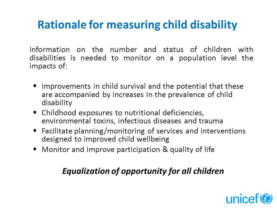 Rationale for measuring child disability
