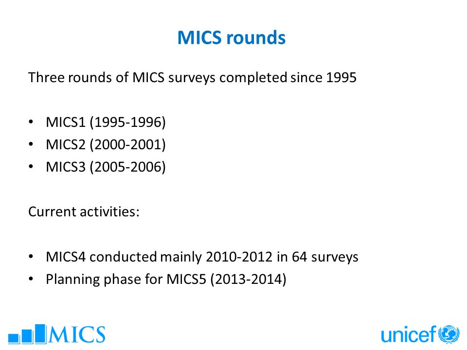MICS rounds Three rounds of MICS surveys completed since 1995