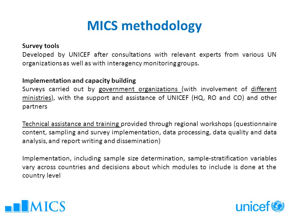 MICS methodology Survey tools