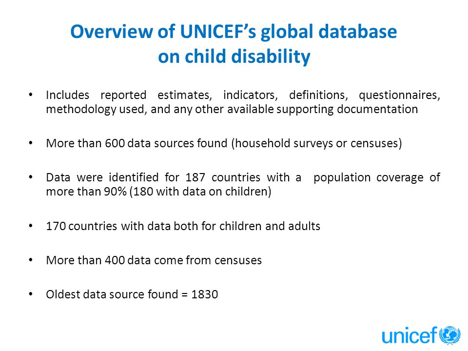 Overview of UNICEF's global database on child disability