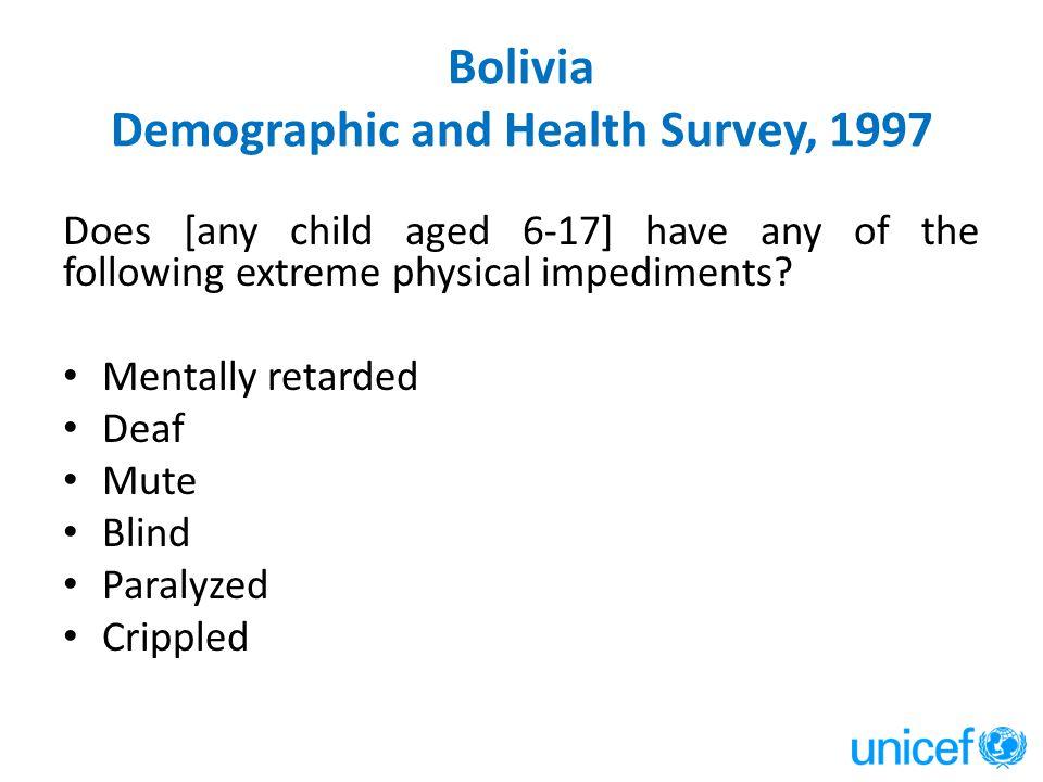 Bolivia Demographic and Health Survey, 1997