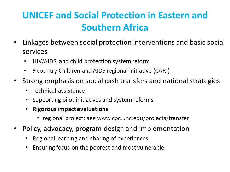 UNICEF and Social Protection in Eastern and Southern Africa