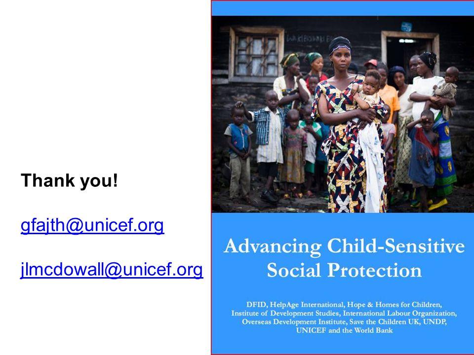 Thank you! gfajth@unicef.org jlmcdowall@unicef.org