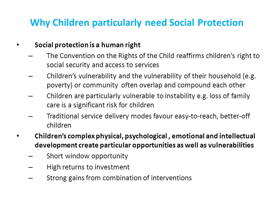 Why Children particularly need Social Protection