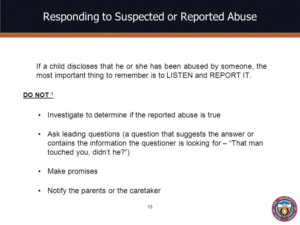 Responding to Suspected or Reported Abuse