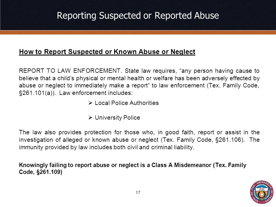 Reporting Suspected or Reported Abuse