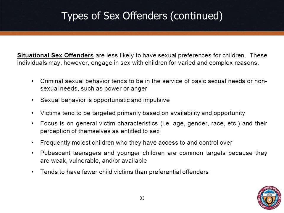 Types of Sex Offenders (continued)