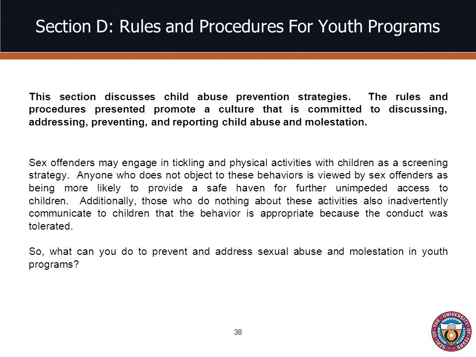 Section D: Rules and Procedures For Youth Programs