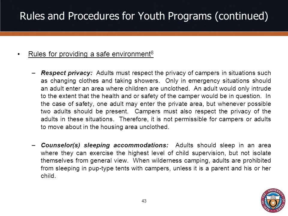 Rules and Procedures for Youth Programs (continued)
