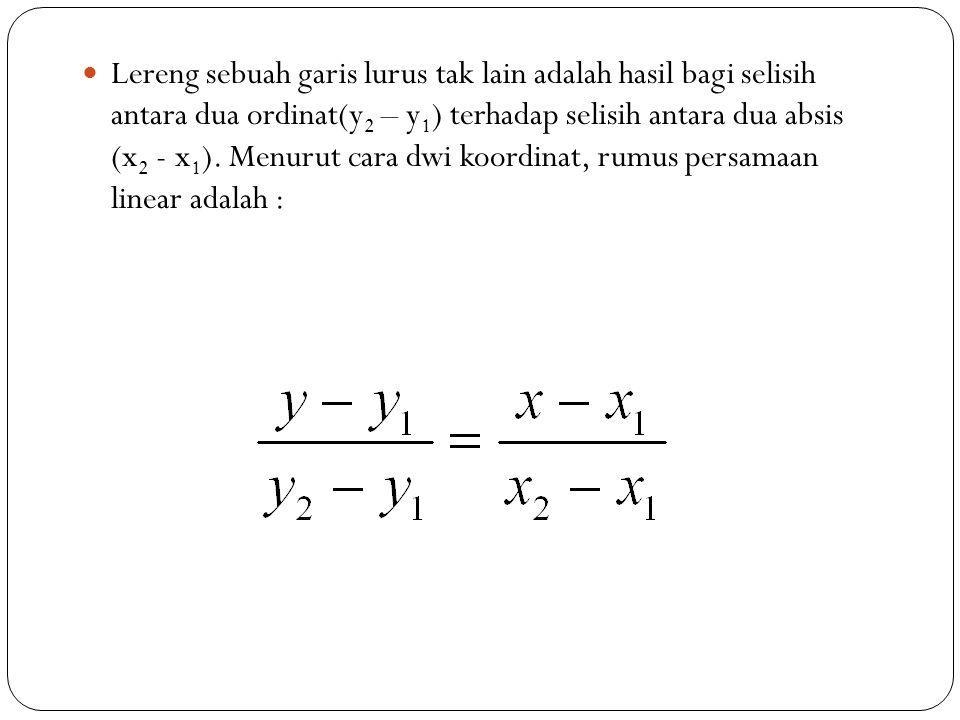Lereng sebuah garis lurus tak lain adalah hasil bagi selisih antara dua ordinat(y2 – y1) terhadap selisih antara dua absis (x2 - x1).