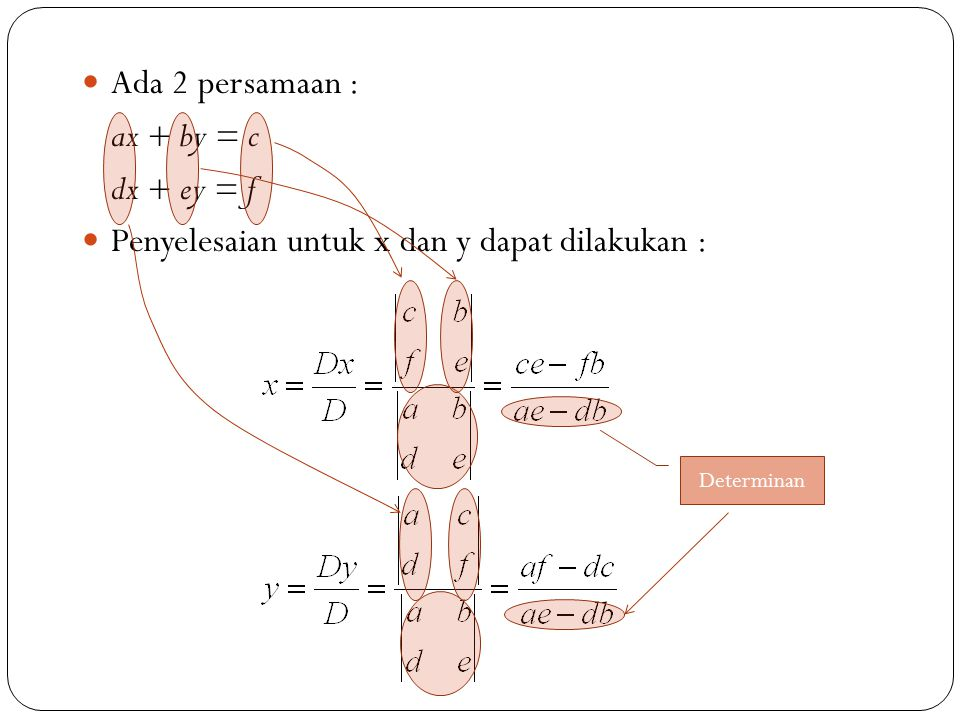 Penyelesaian untuk x dan y dapat dilakukan :
