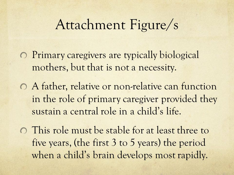 Attachment Figure/s Primary caregivers are typically biological mothers, but that is not a necessity.