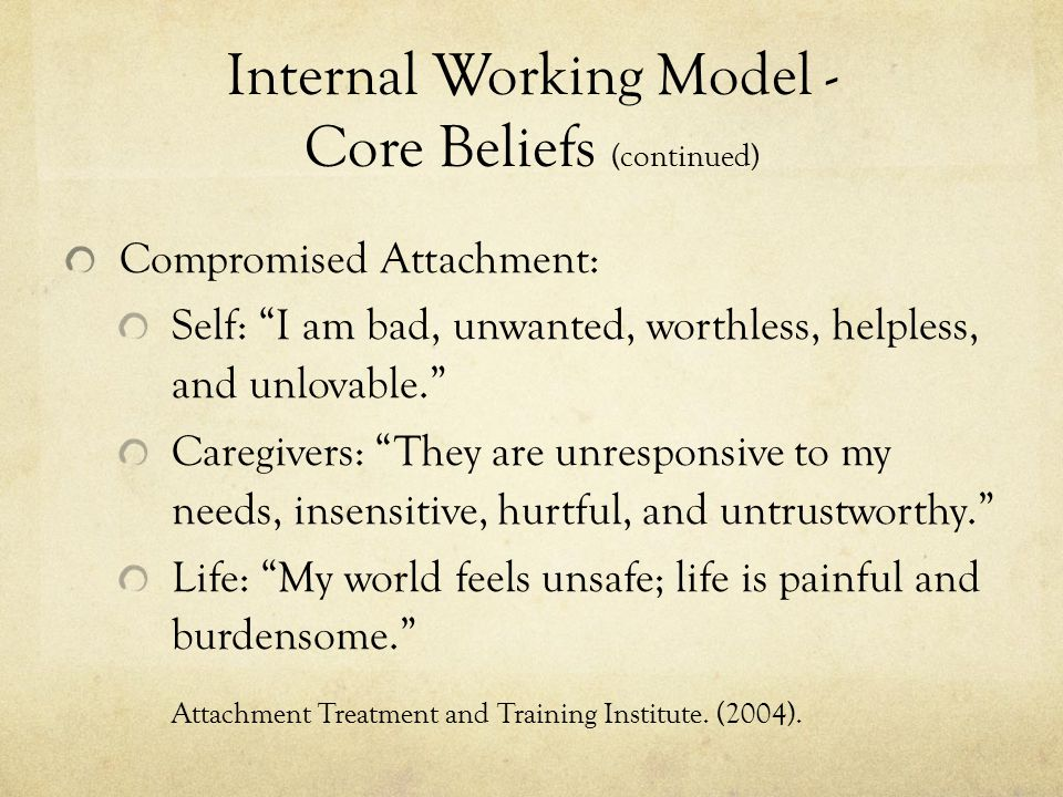 Internal Working Model - Core Beliefs (continued)