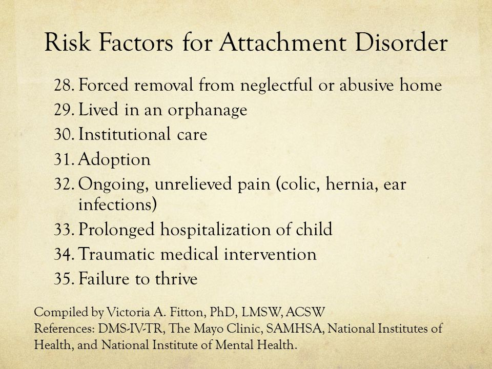 Risk Factors for Attachment Disorder