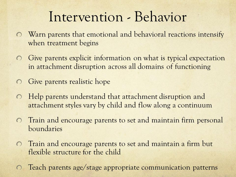 Intervention - Behavior