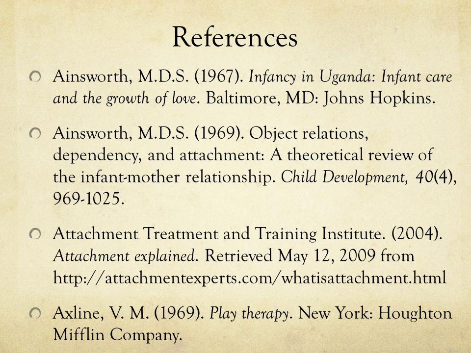 References Ainsworth, M.D.S. (1967). Infancy in Uganda: Infant care and the growth of love. Baltimore, MD: Johns Hopkins.