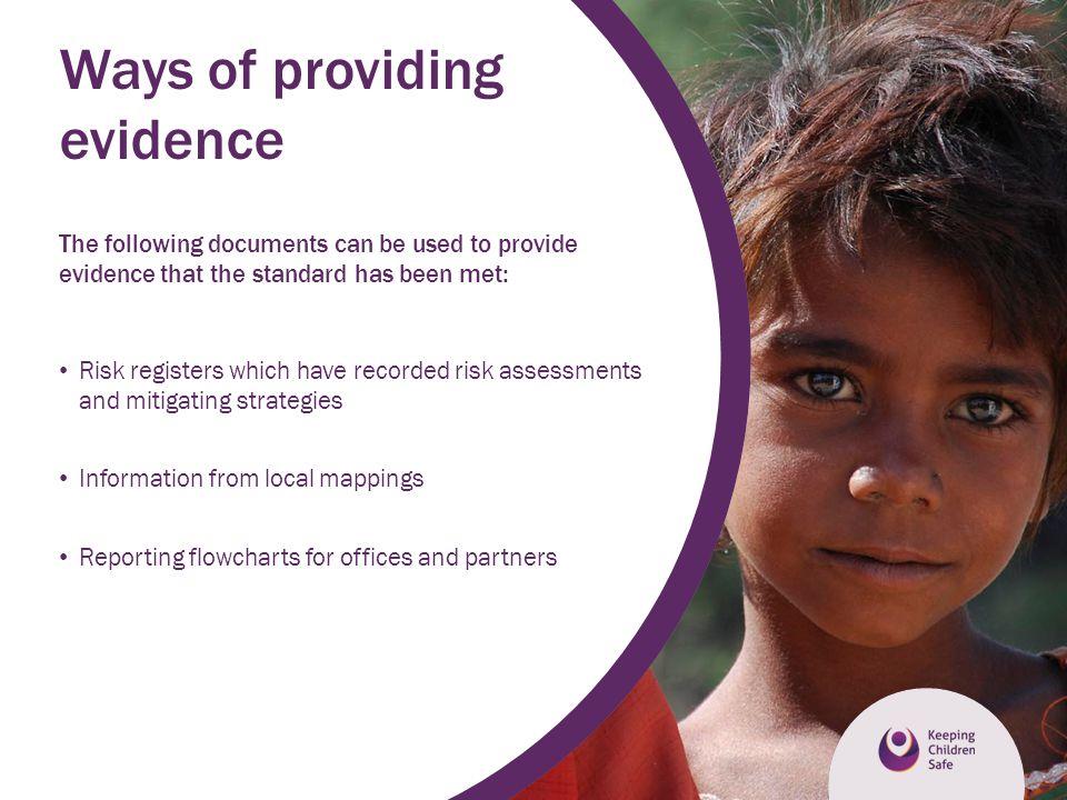 Ways of providing evidence