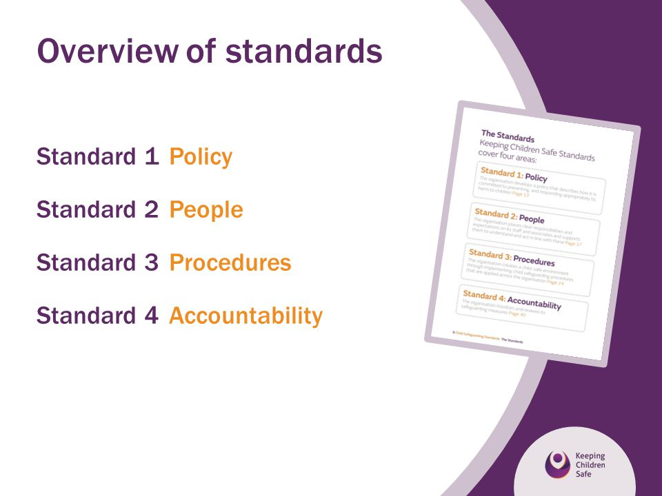 Overview of standards Standard 1 Policy Standard 2 People