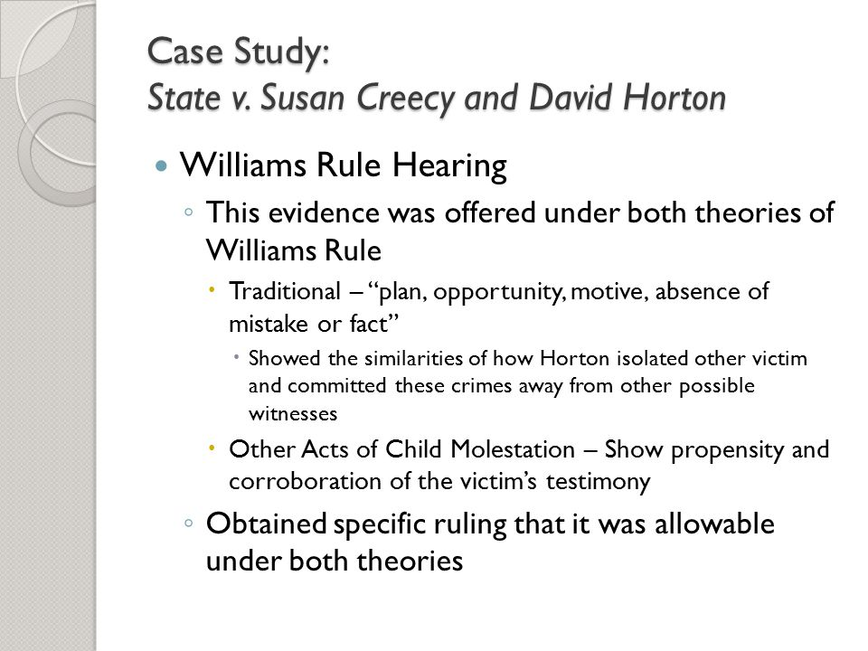 Case Study: State v. Susan Creecy and David Horton