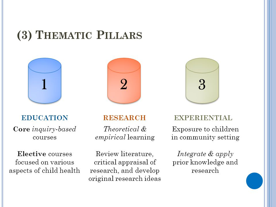 1 2 3 (3) Thematic Pillars Core inquiry-based courses