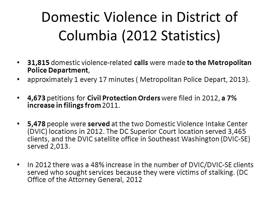 Domestic Violence in District of Columbia (2012 Statistics)
