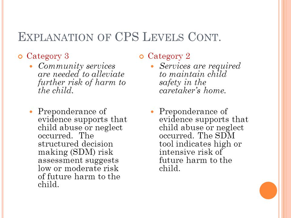 Explanation of CPS Levels Cont.