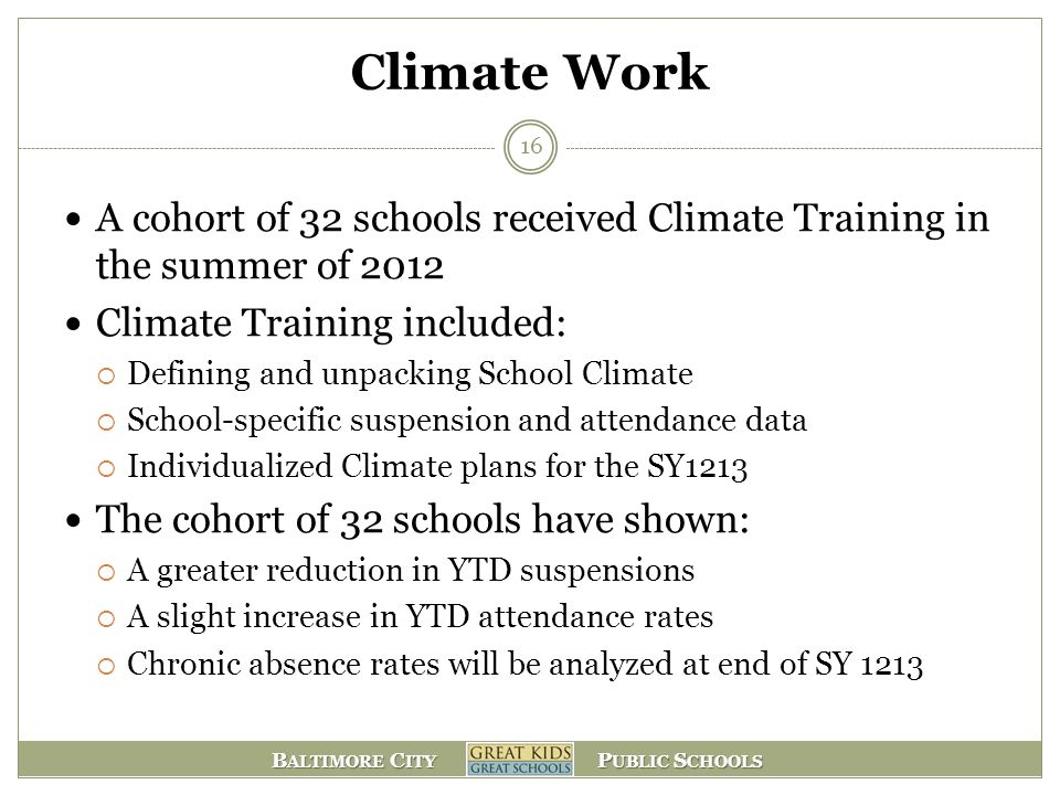 Climate Work A cohort of 32 schools received Climate Training in the summer of 2012. Climate Training included: