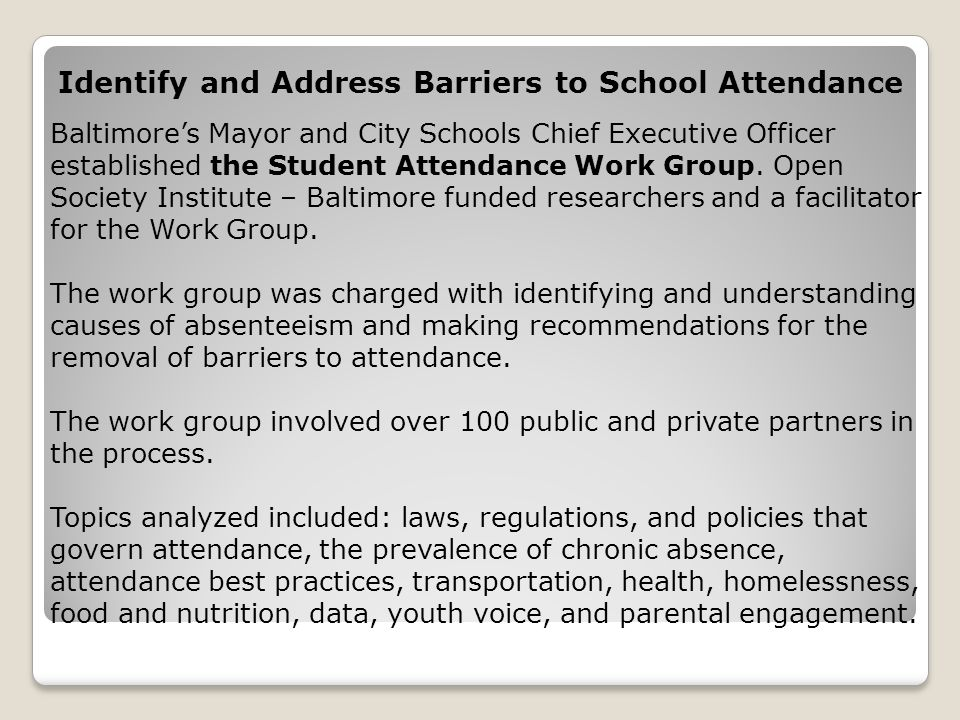 Identify and Address Barriers to School Attendance