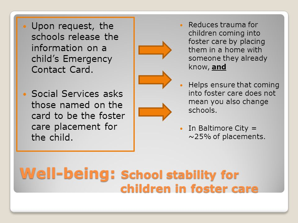 Well-being: School stability for children in foster care