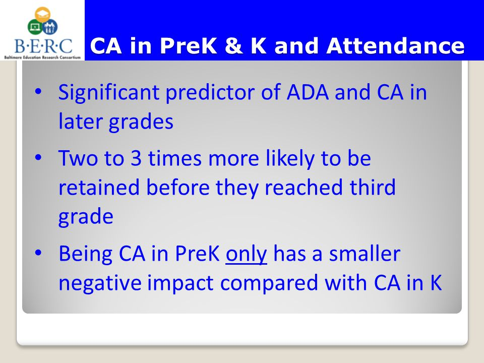CA in PreK & K and Attendance