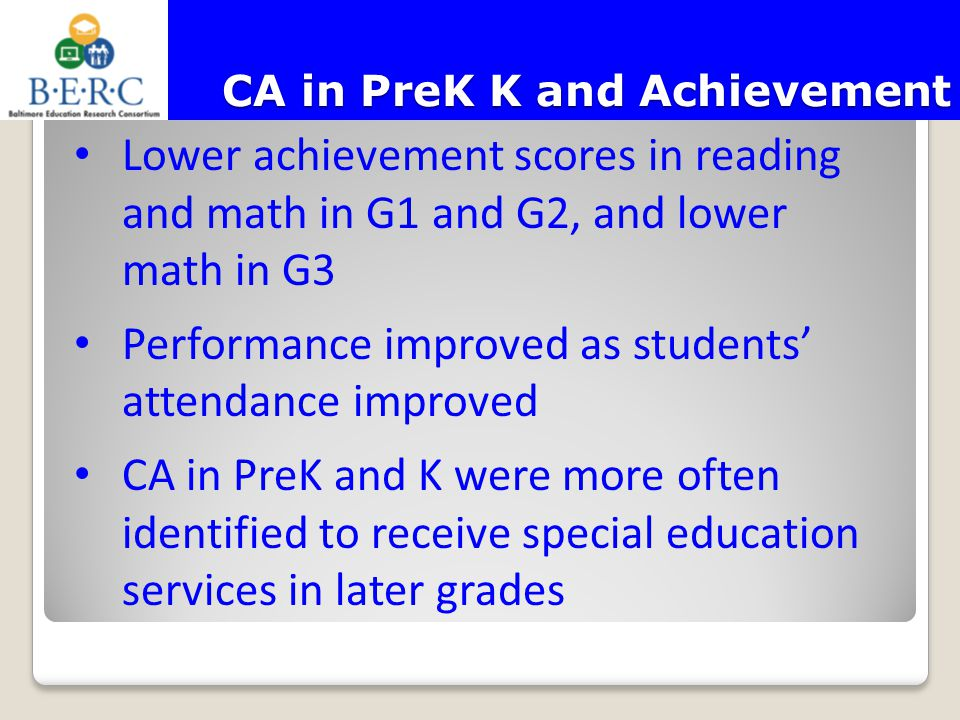 CA in PreK K and Achievement