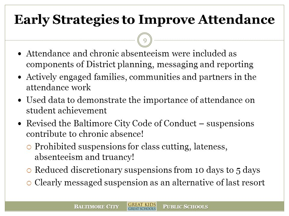 Early Strategies to Improve Attendance