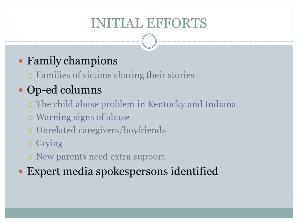 INITIAL EFFORTS Family champions Op-ed columns