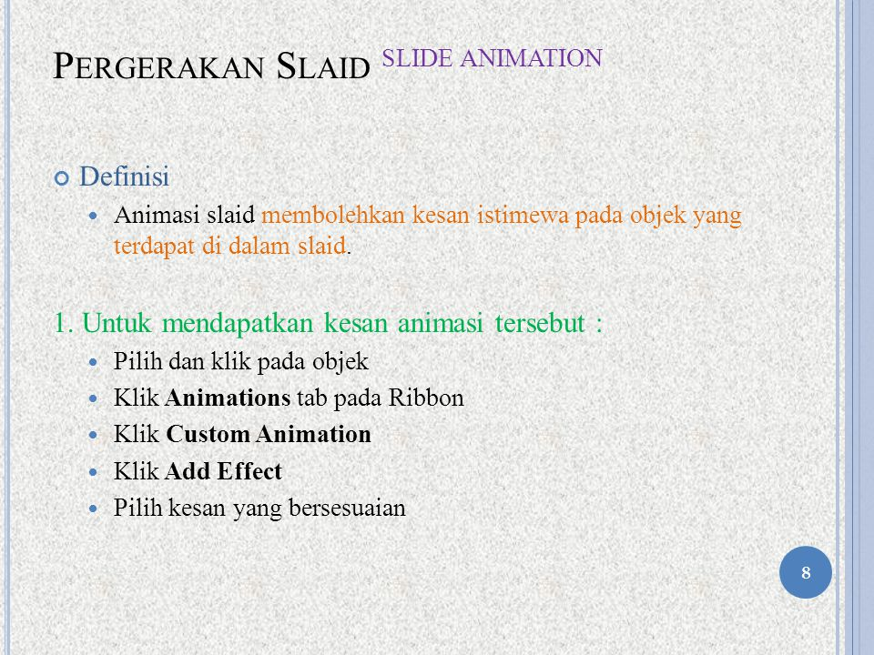 Pergerakan Slaid Slide Animation