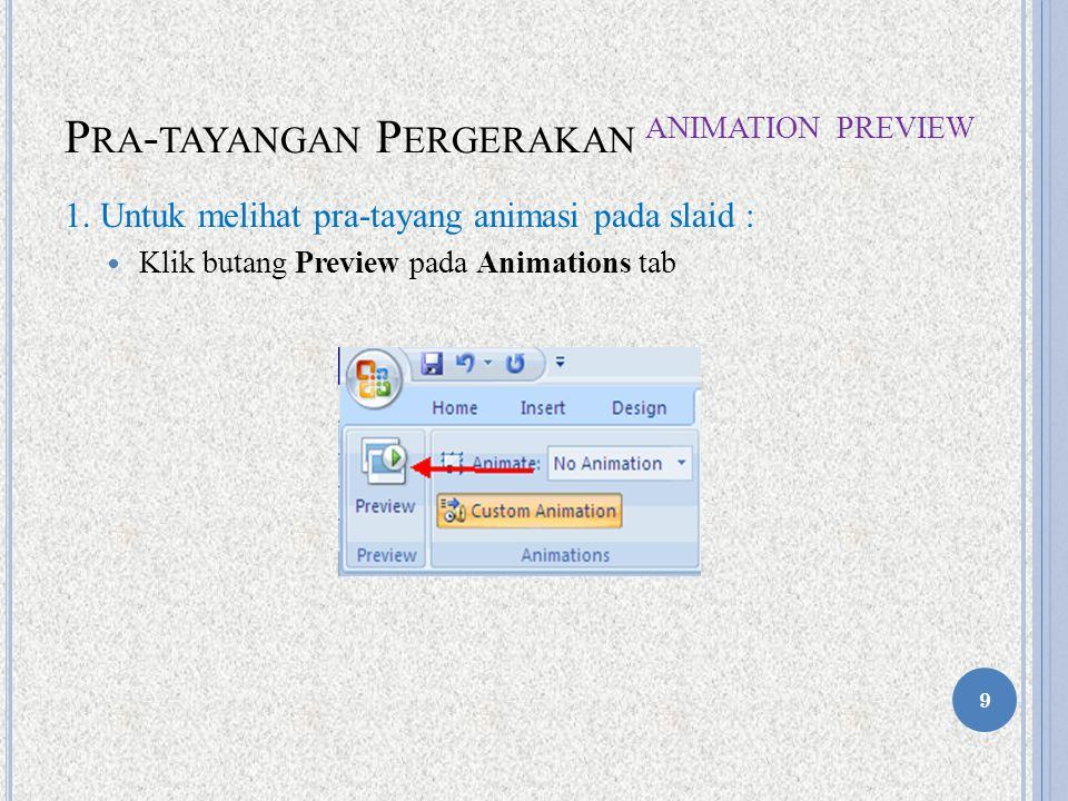 Pra-tayangan Pergerakan Animation Preview
