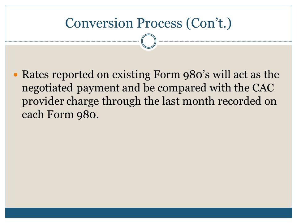 Conversion Process (Con't.)