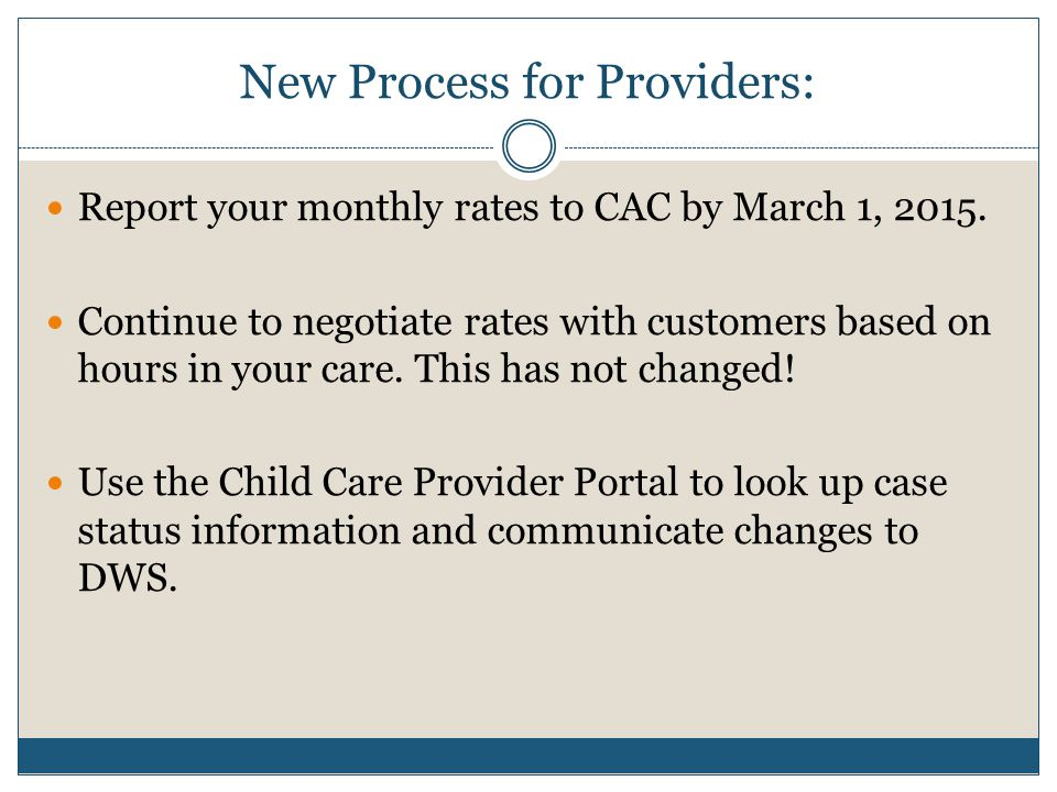 New Process for Providers: