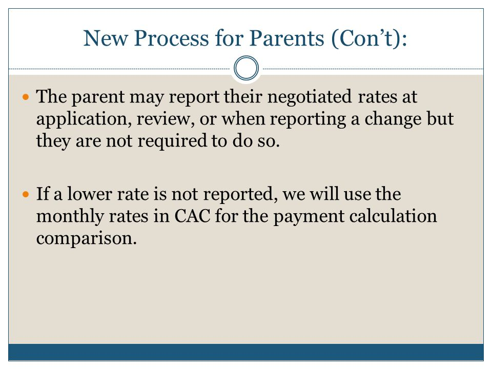New Process for Parents (Con't):