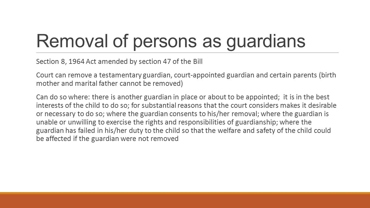 Removal of persons as guardians