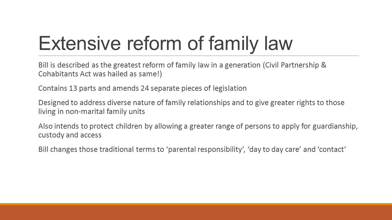Extensive reform of family law