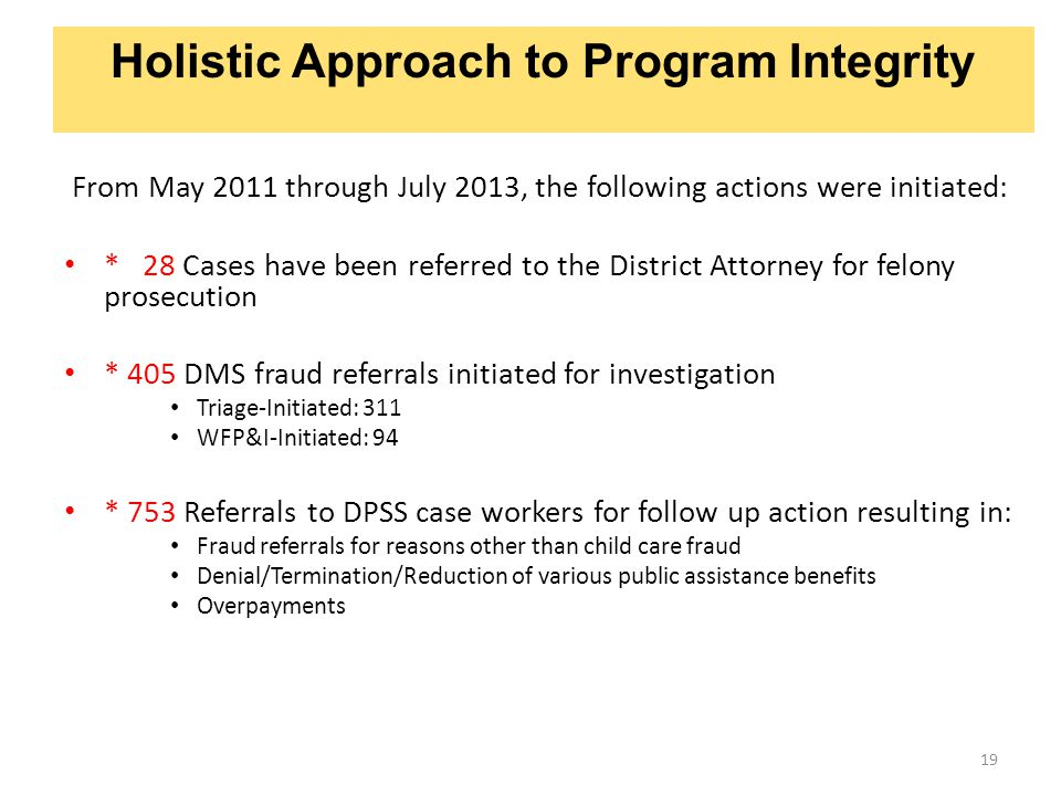 Holistic Approach to Program Integrity