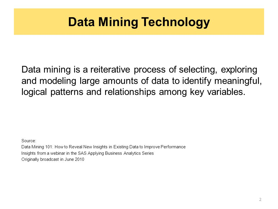 Data Mining Technology