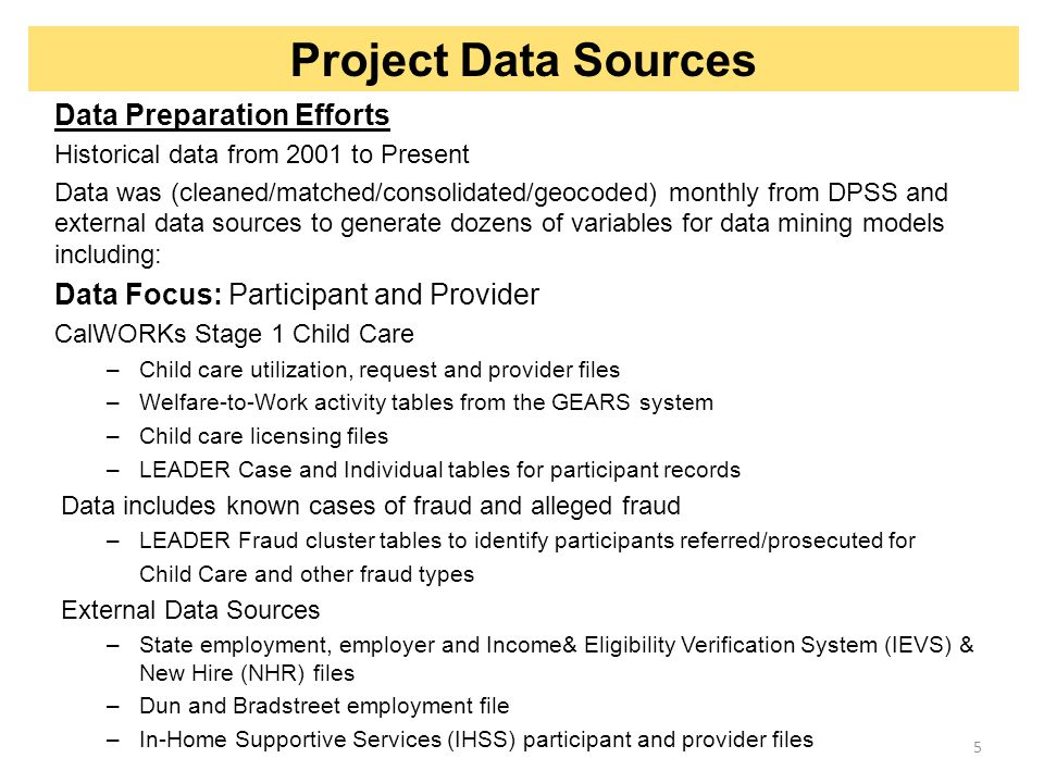 Project Data Sources Data Preparation Efforts