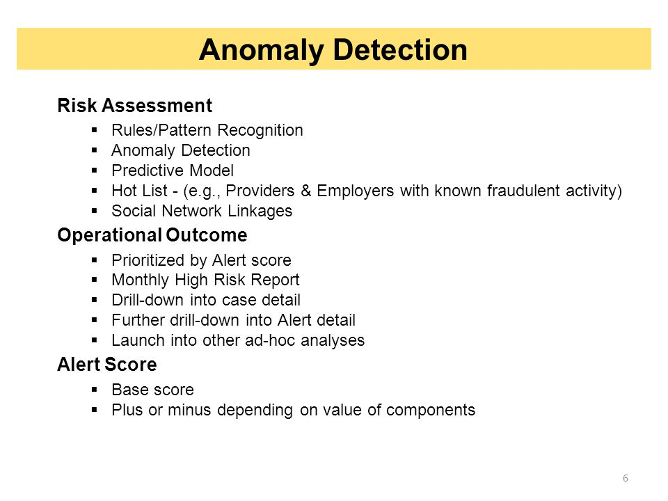Anomaly Detection Risk Assessment Operational Outcome Alert Score