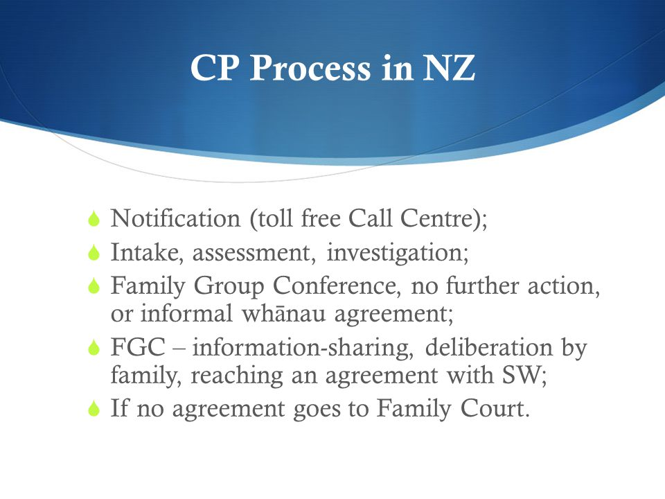 CP Process in NZ Notification (toll free Call Centre);