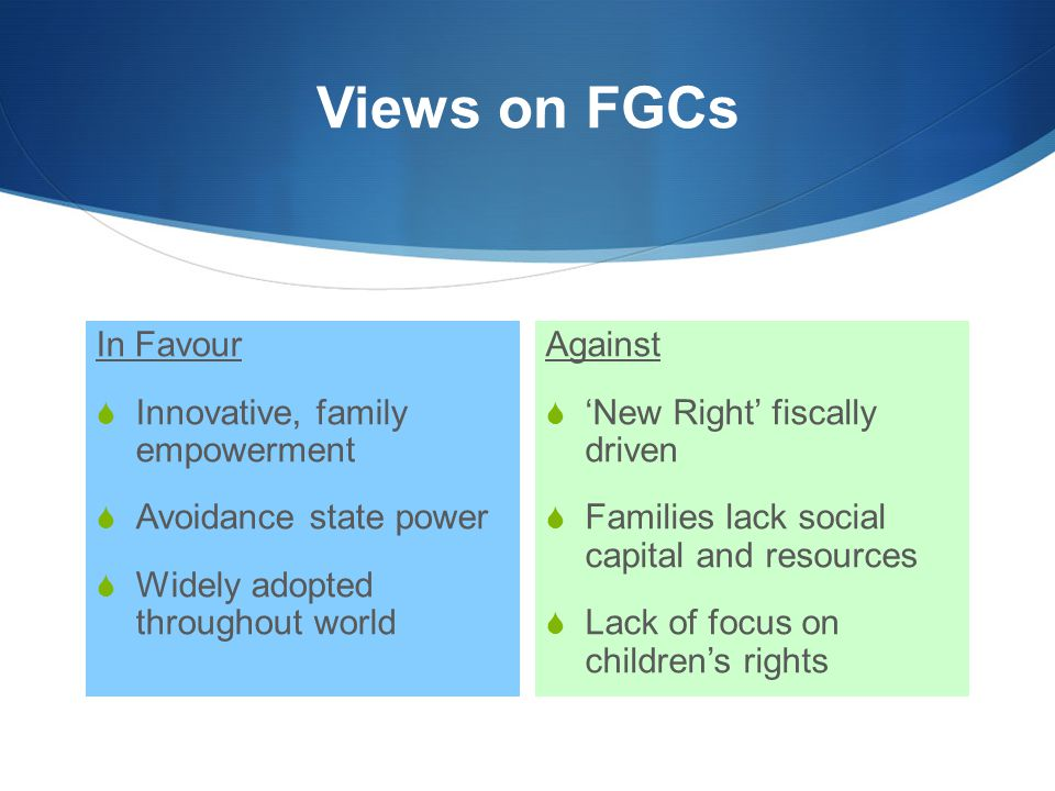 Views on FGCs In Favour Innovative, family empowerment