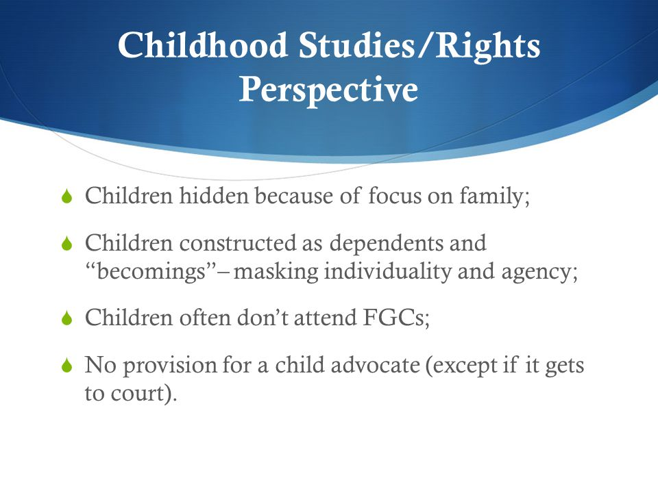 Childhood Studies/Rights Perspective