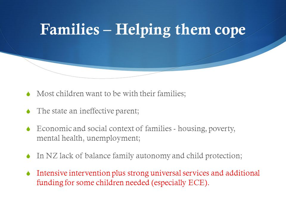 Families – Helping them cope