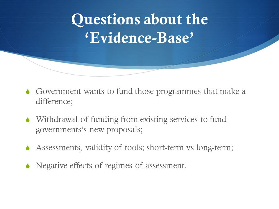 Questions about the 'Evidence-Base'